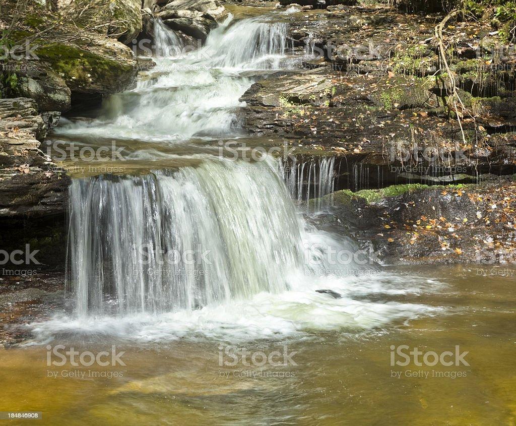 Mountain Waterfall Time Exposure - Ozone Falls, Ricketts Glen, Pennsylvania royalty-free stock photo