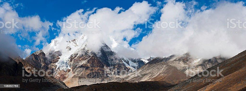 Mountain wilderness panorama dramatic glacier cloudscape Himalayas Nepal royalty-free stock photo