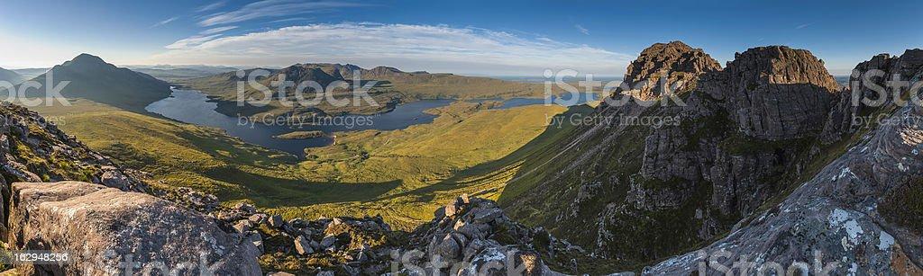 Mountain wilderness sunrise Highland glens panorama Scotland royalty-free stock photo