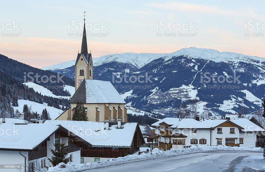 Mountain winter Kartitsch village and sunrise (Austria). stock photo