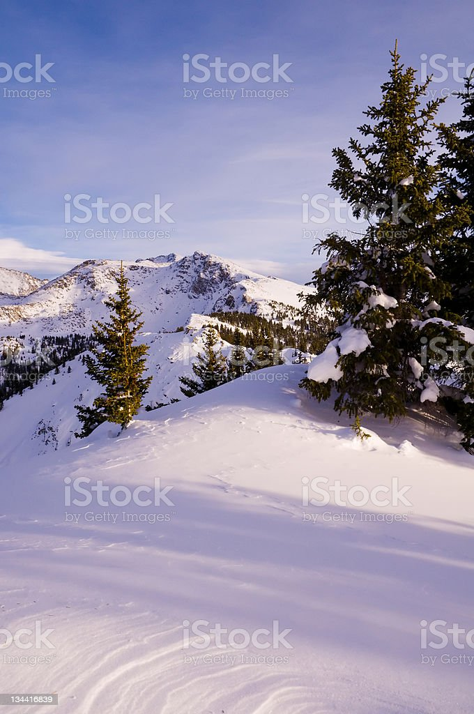 Mountain Winter Scenic at Sunset royalty-free stock photo