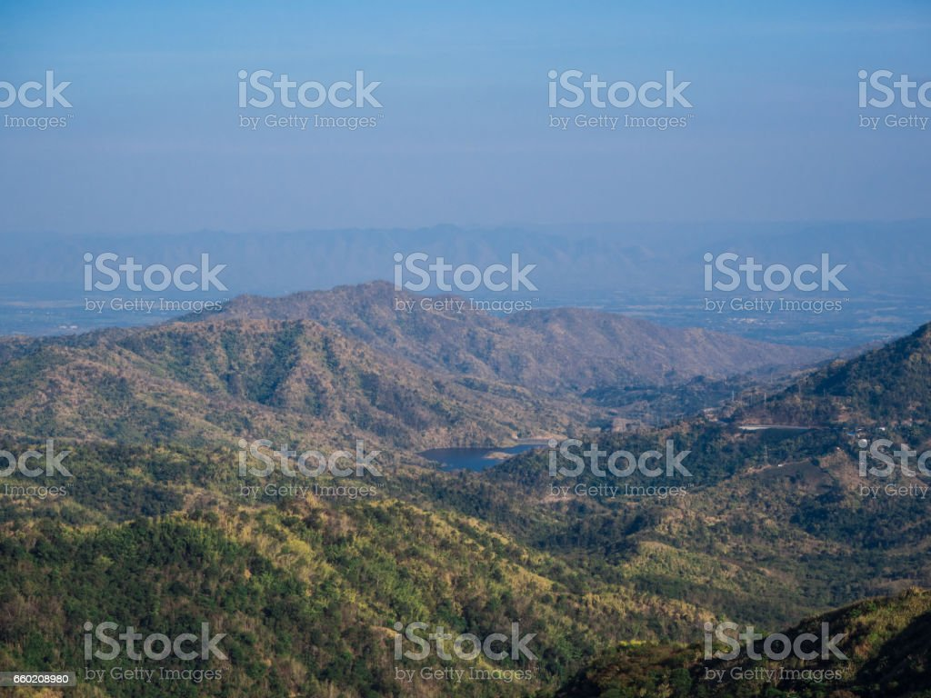 Mountain with blue sky. Beautiful natural. stock photo
