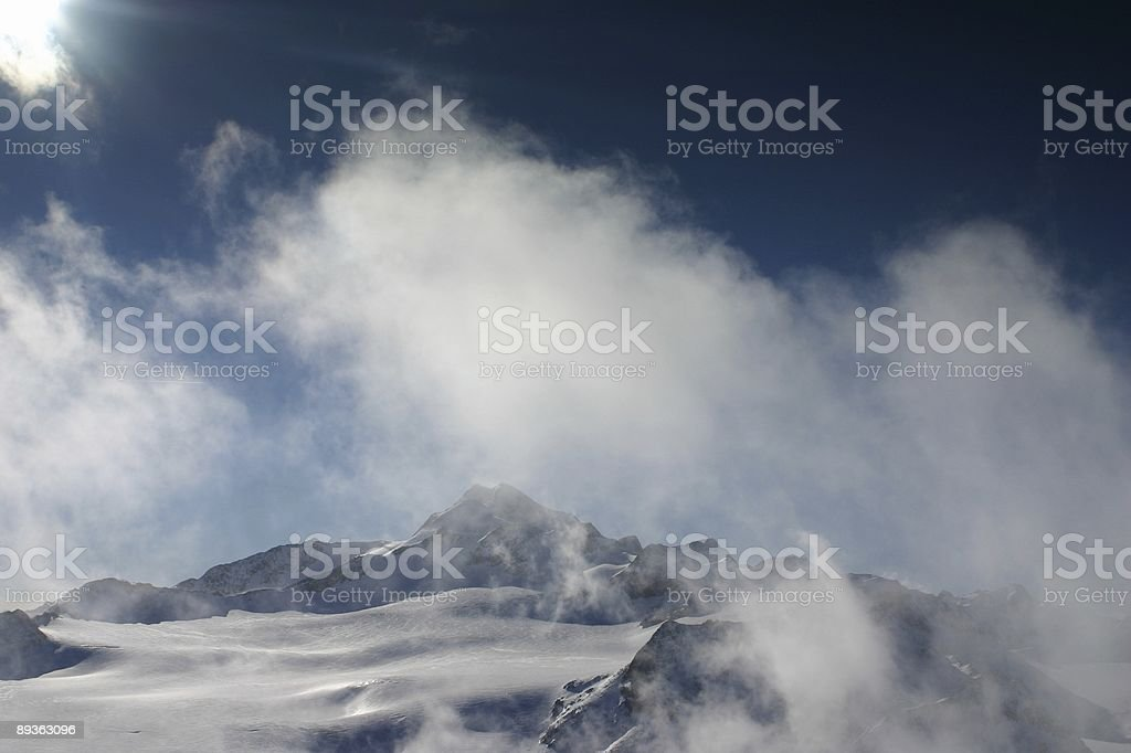 Mountain with clouds royalty-free stock photo