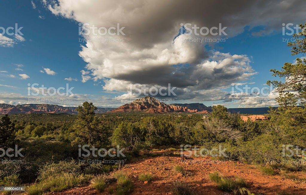 Mountain with cloudy blue sky cover stock photo