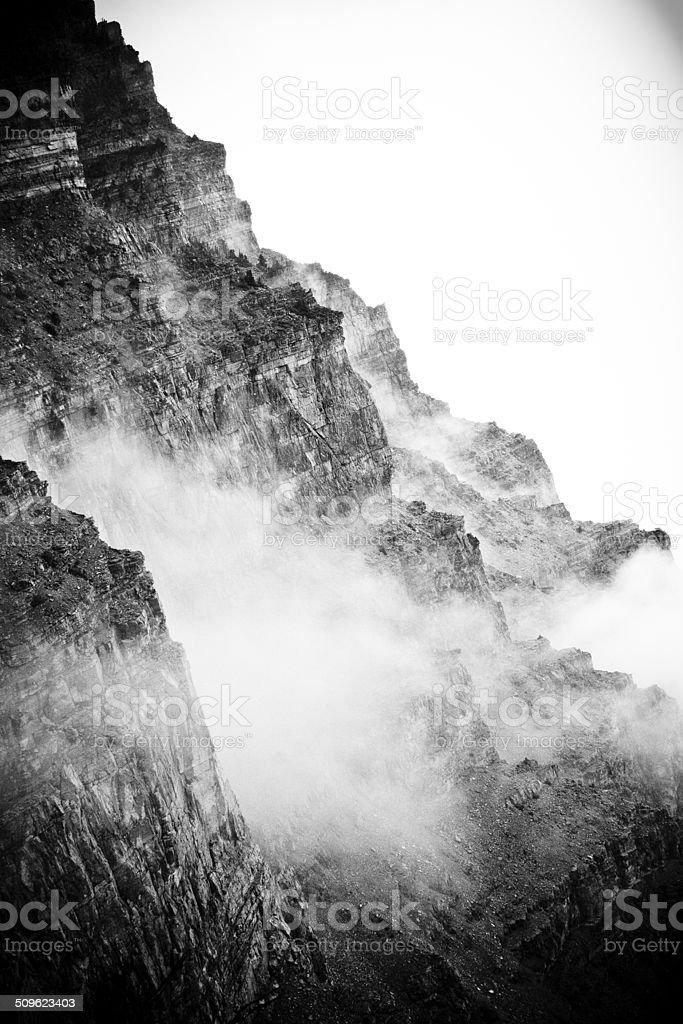 Mountain with Fog (Black & White) stock photo