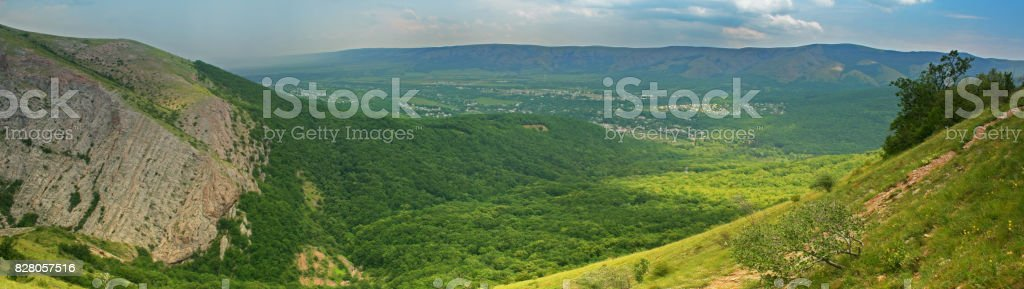 Mountain with green hils stock photo