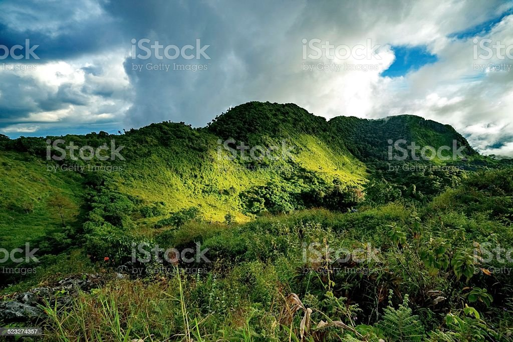 Mountain with mist and cloud stock photo