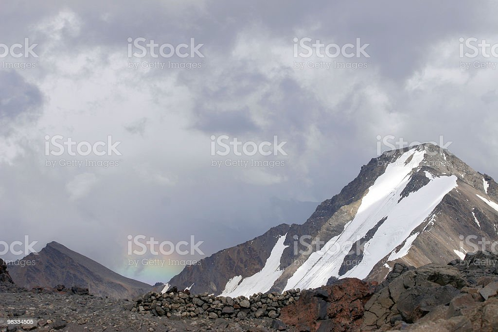 mountain with rainbow royalty-free stock photo