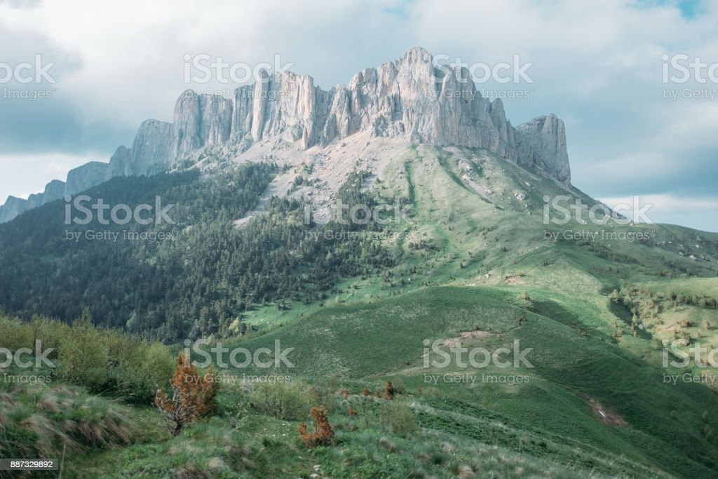 Mountain with rocky peak Big Thach. stock photo