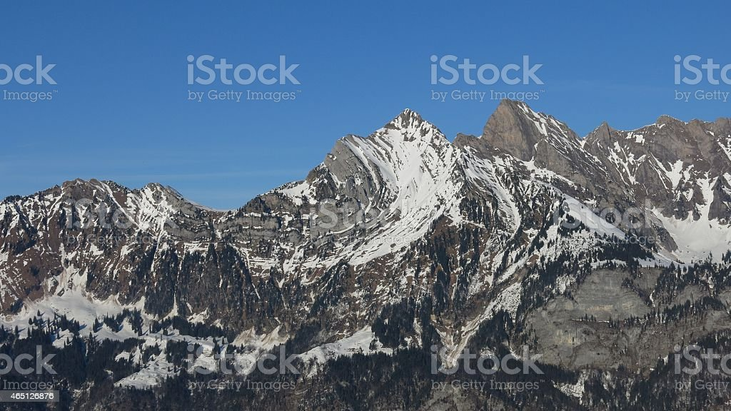 Mountain with visible alpine folds stock photo