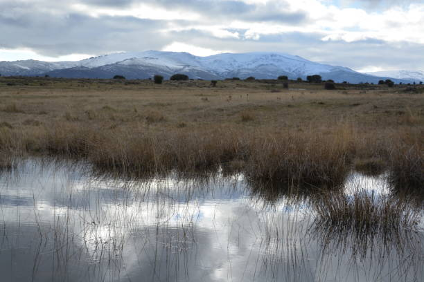 Montaña con paisaje invernal - foto de stock