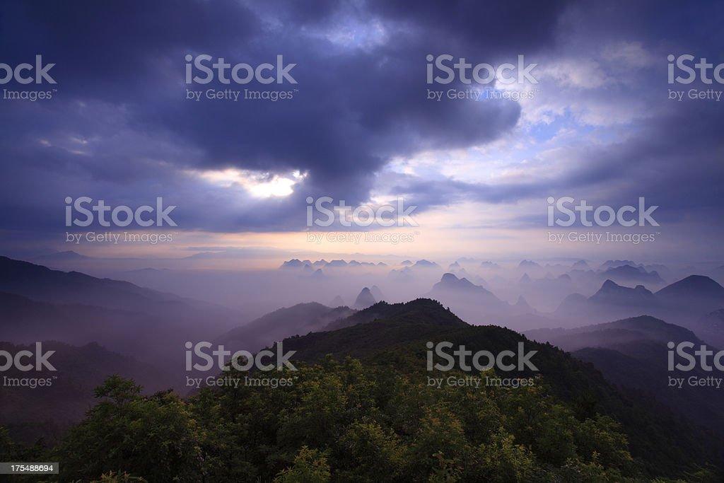 Mountain Yaoshan in the Morning royalty-free stock photo