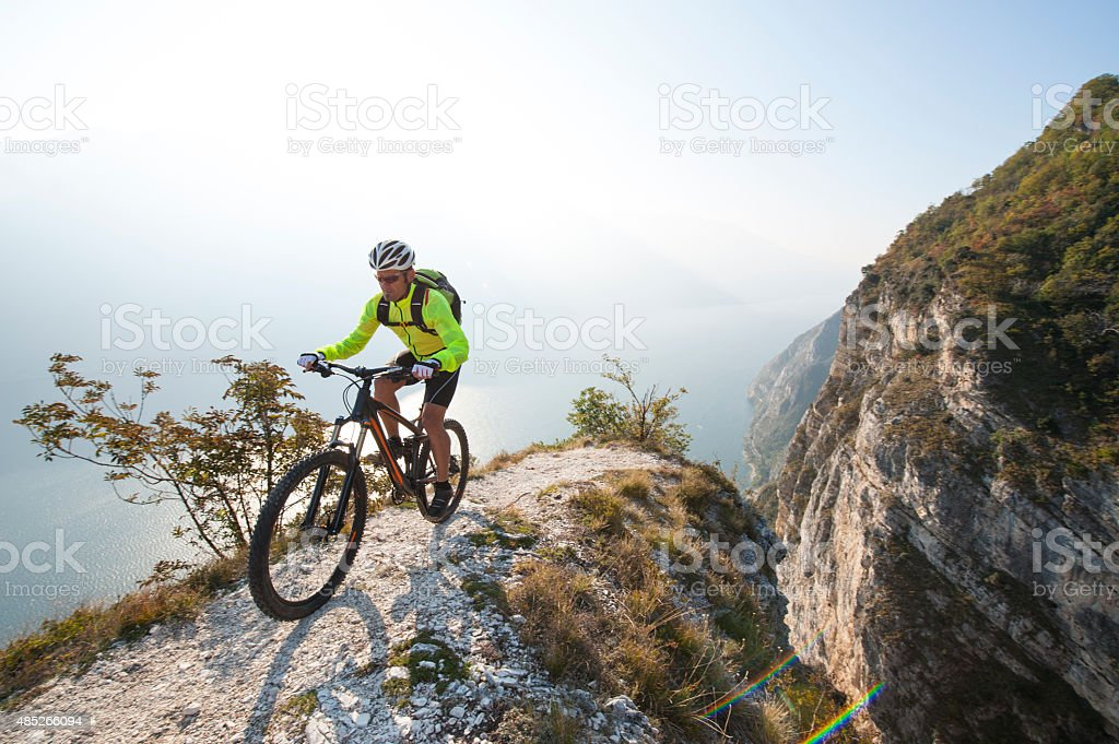 mountainbike adventure  - garda lake stock photo