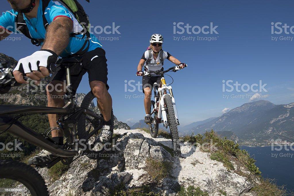 Mountainbike downhill stock photo