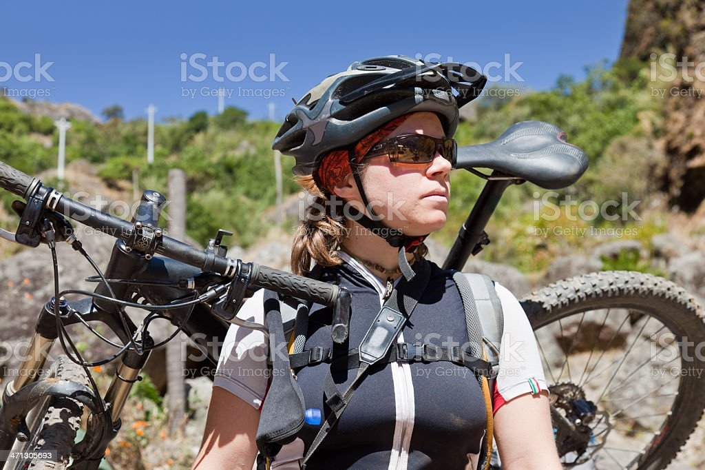 Mountainbike Lady - ready for action! stock photo