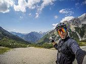 Mountainbike ride in Alps, Slovenija, GoPro, All logos removed.