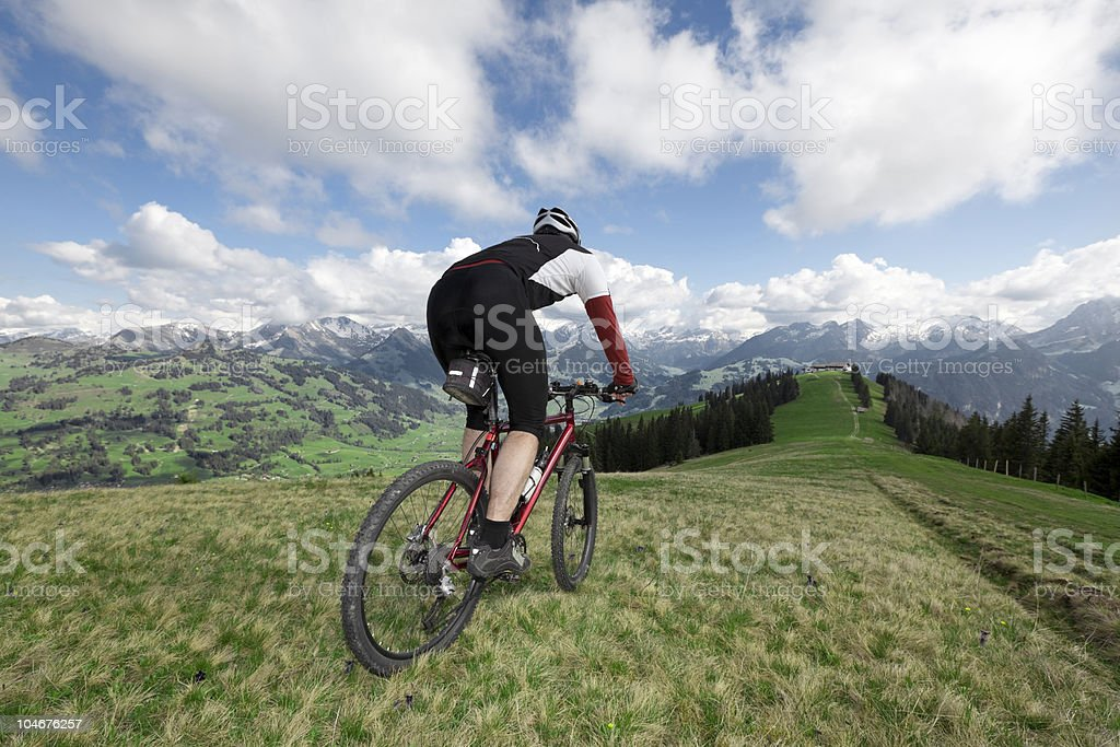 Mountainbike with view stock photo