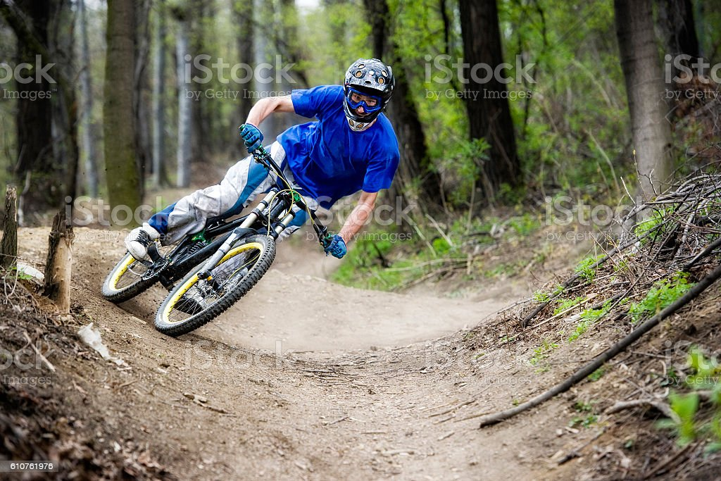 Mountainbiker Forest Bike Downhill stock photo