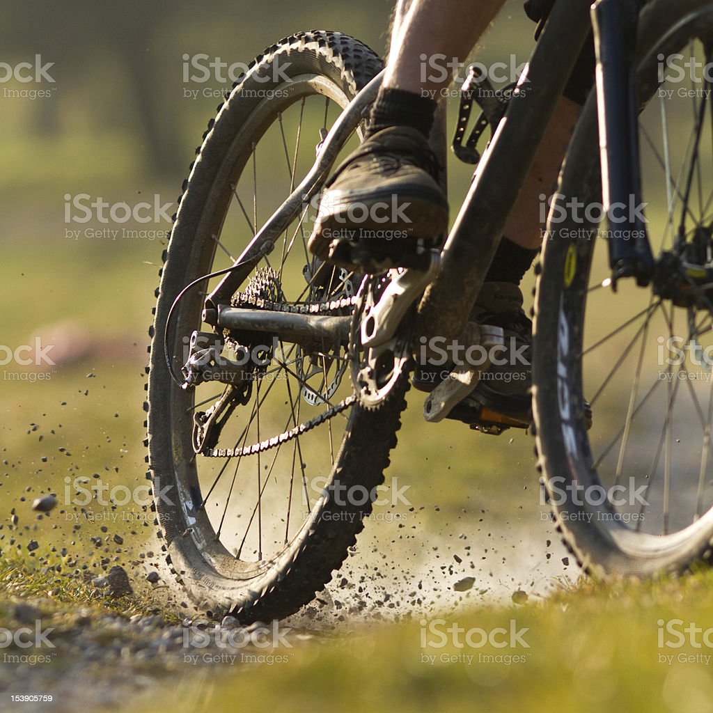 Mountainbiker on a singletrail stock photo