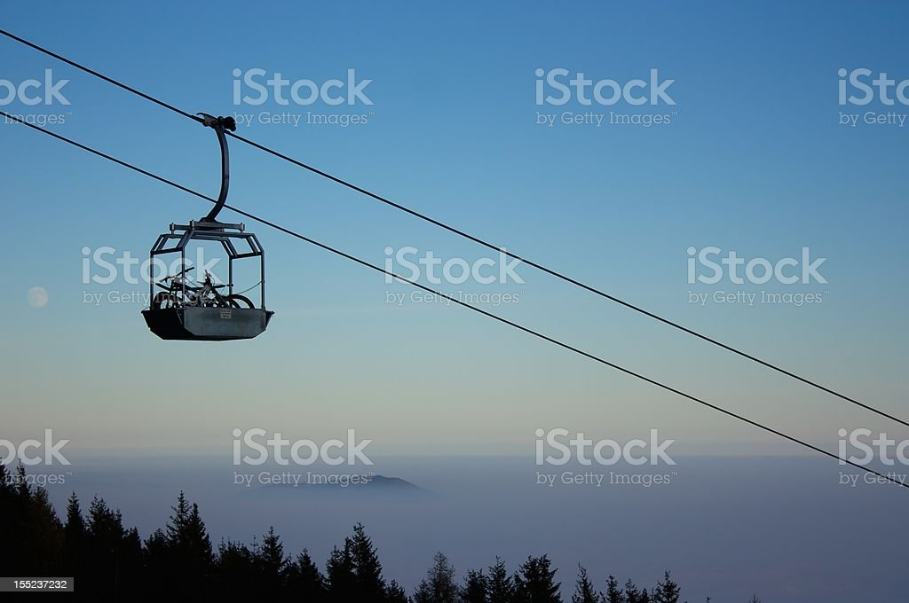 Mountainbikes in cableway basket stock photo
