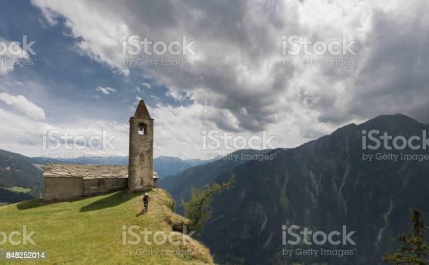 Photo of Mountainbiking at the edge of San Romerio, Switzerland.
