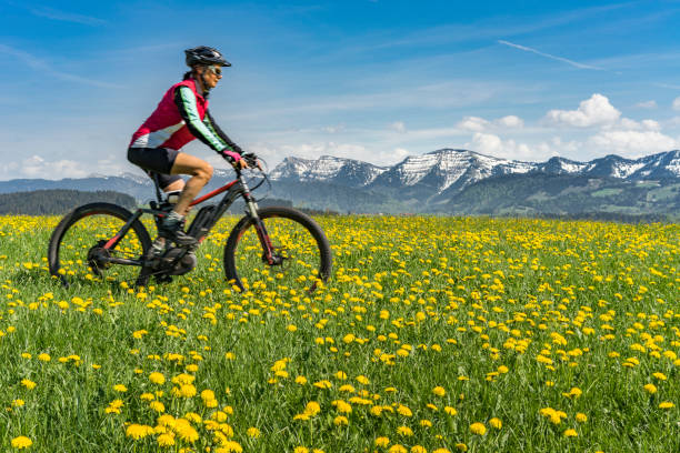 mountainbiken im frühlingsanfang - allgäu stock-fotos und bilder