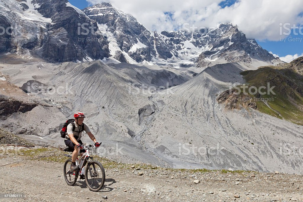 Mountainbiking in glacier regions, South Tyrol royalty-free stock photo