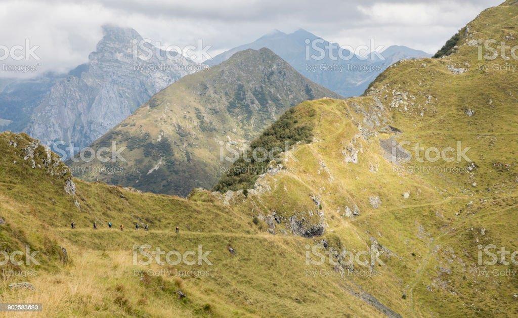 Mountainbiking in the scenic Friulian Mountains, Italy. stock photo