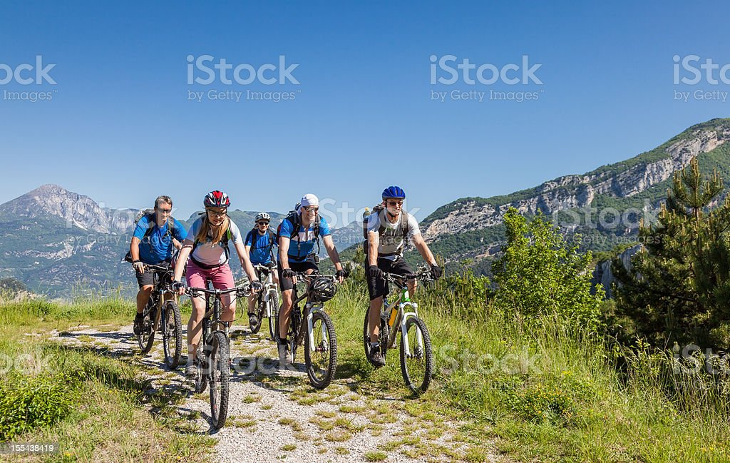 Mountainbiking in the Southern Alps, Italy stock photo