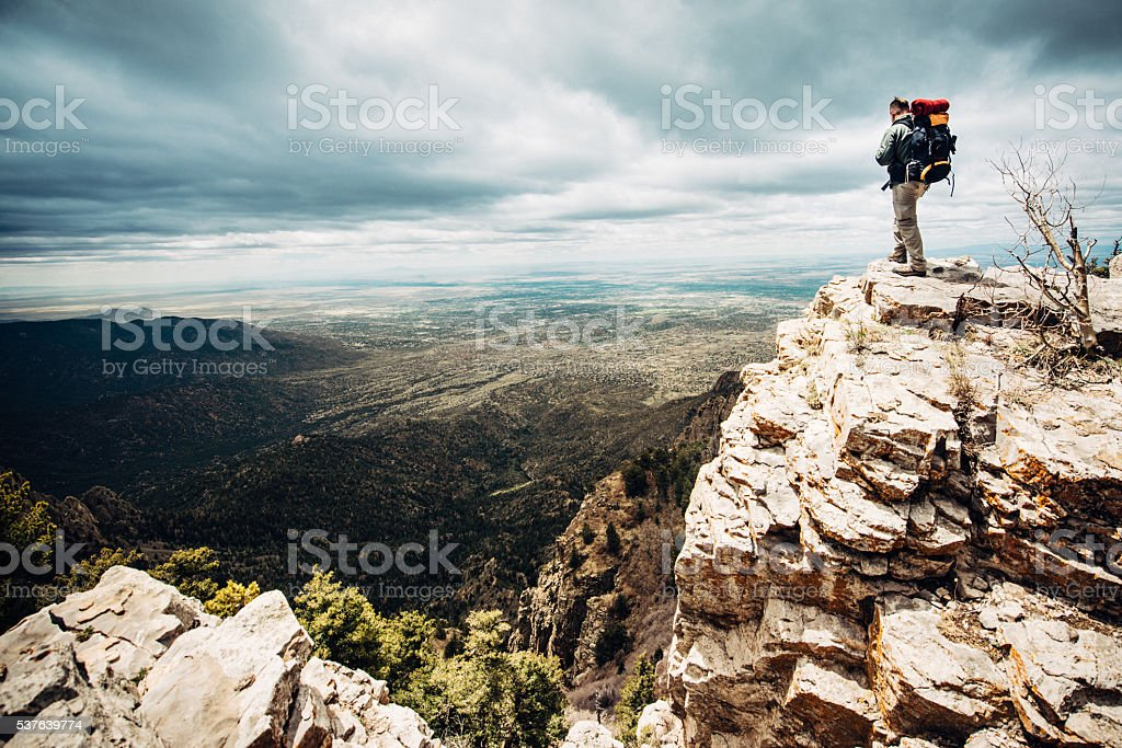 Mountaineer at the Summit stock photo