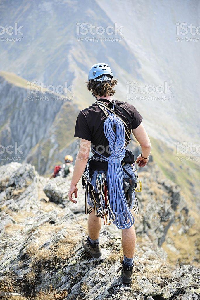 mountaineer descending the mountain royalty-free stock photo