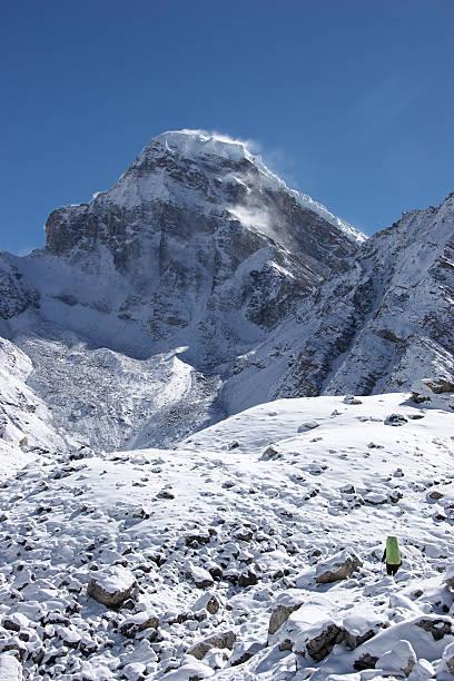 지속적인 등반가 계기미터의 인공눈 산, 히말라야 스톡 사진