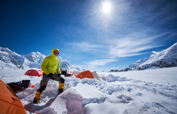 Mountaineer in camp 01 on Denali. stock photo