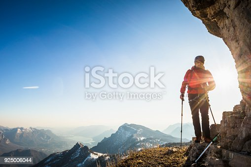 Hiker exploring  mountains