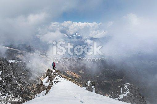 Hiker on the mountain ridge