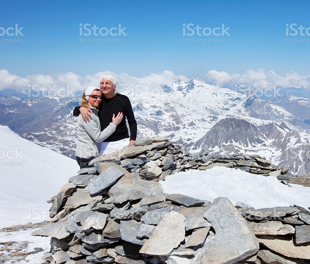Mountaineer on the top royalty-free stock photo