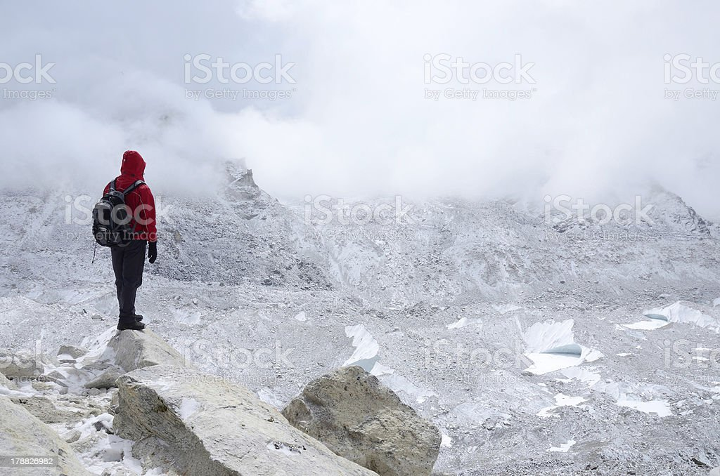 Mountaineer standing near Khumbu Icefall , Everest Base Camp,Nepal stock photo