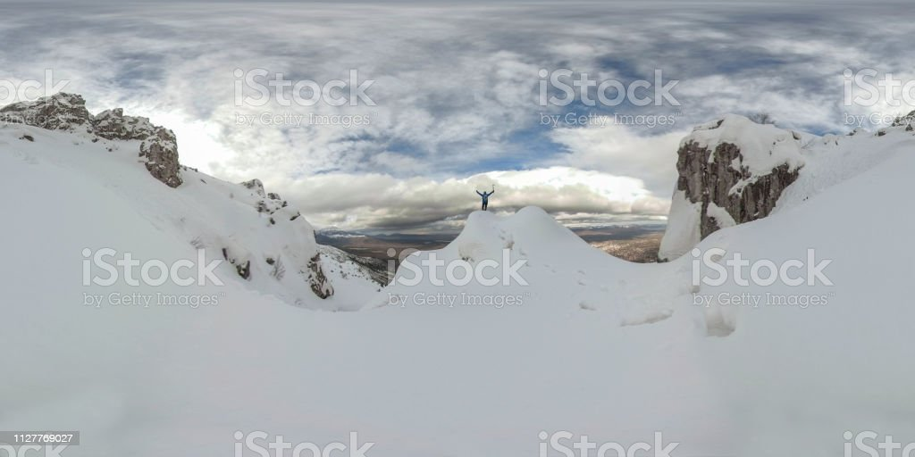 mountaineering adventure, peak passion, successful crazy climber and 360 photos stock photo