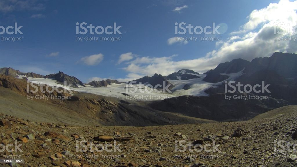 Mountaineering at Glacier in Oetztal stock photo