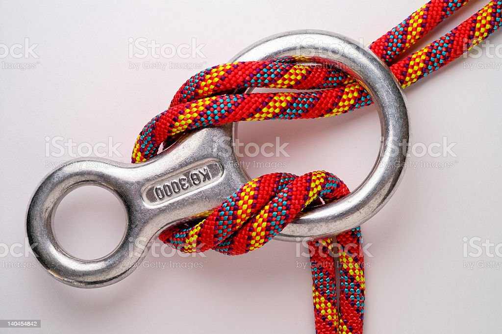 Mountaineering: descender and double rope stock photo