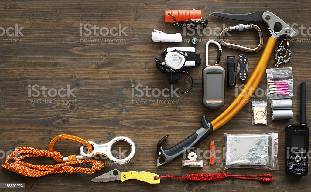 Mountaineering equipment stock photo