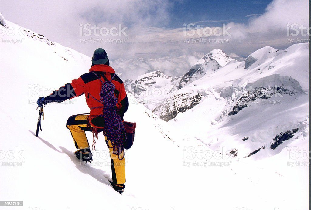 Mountaineering in the french alps royalty-free stock photo