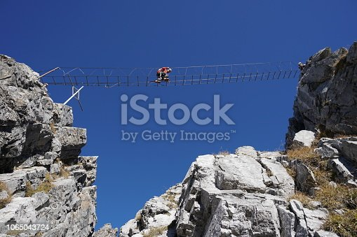 Via ferrata route with fixed rungs and bridges