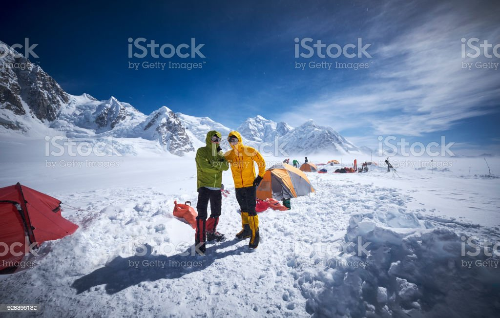 Mountaineers in camp 01 on Denali. stock photo