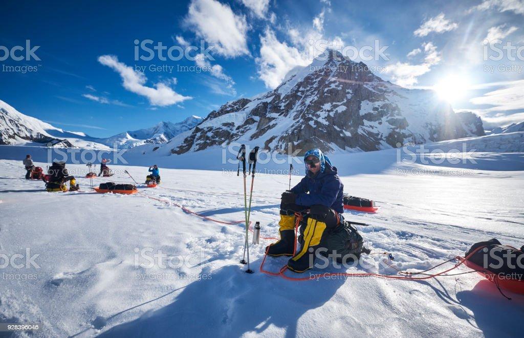 Mountaineers resting on Denali. stock photo