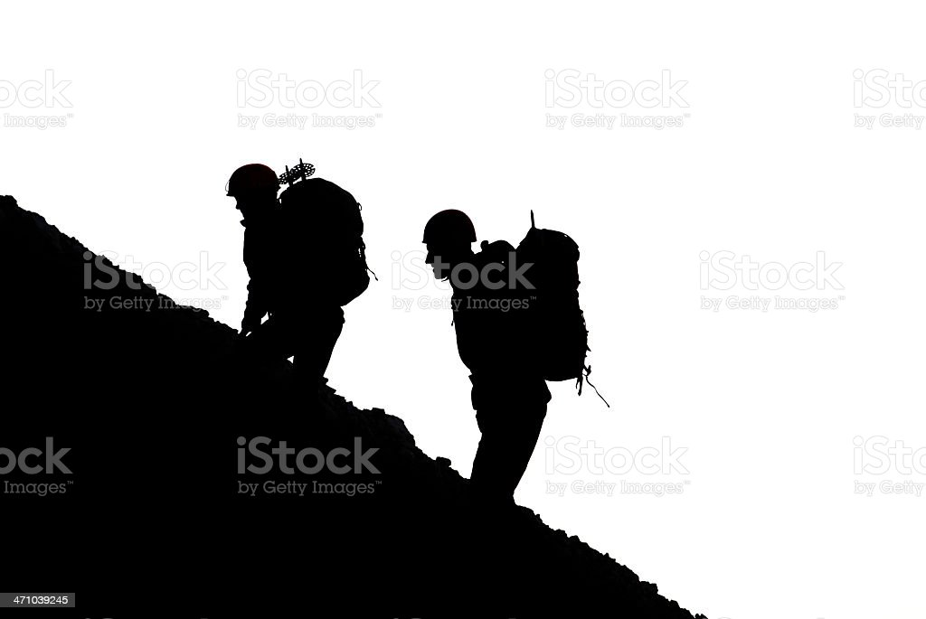 Mountaineers silhouette royalty-free stock photo