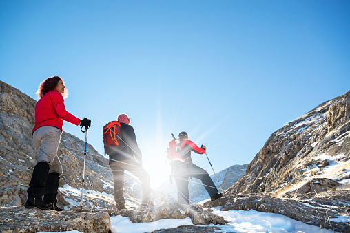 istock Mountaineers walking in the mountains 518209838