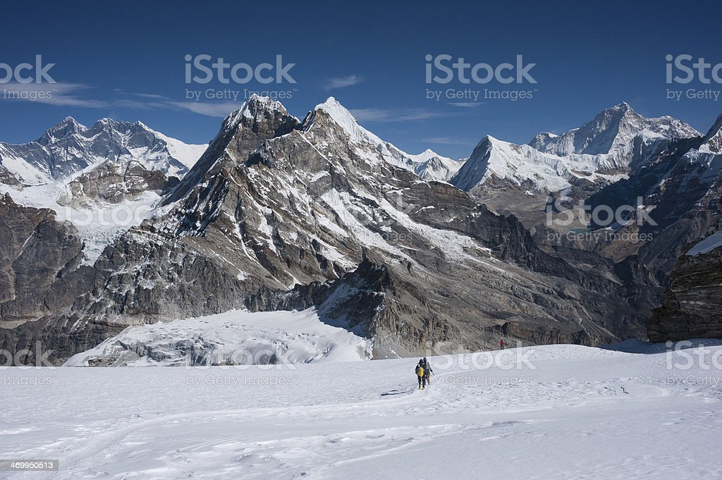 Mountaineers with Himalayas of Nepal stock photo
