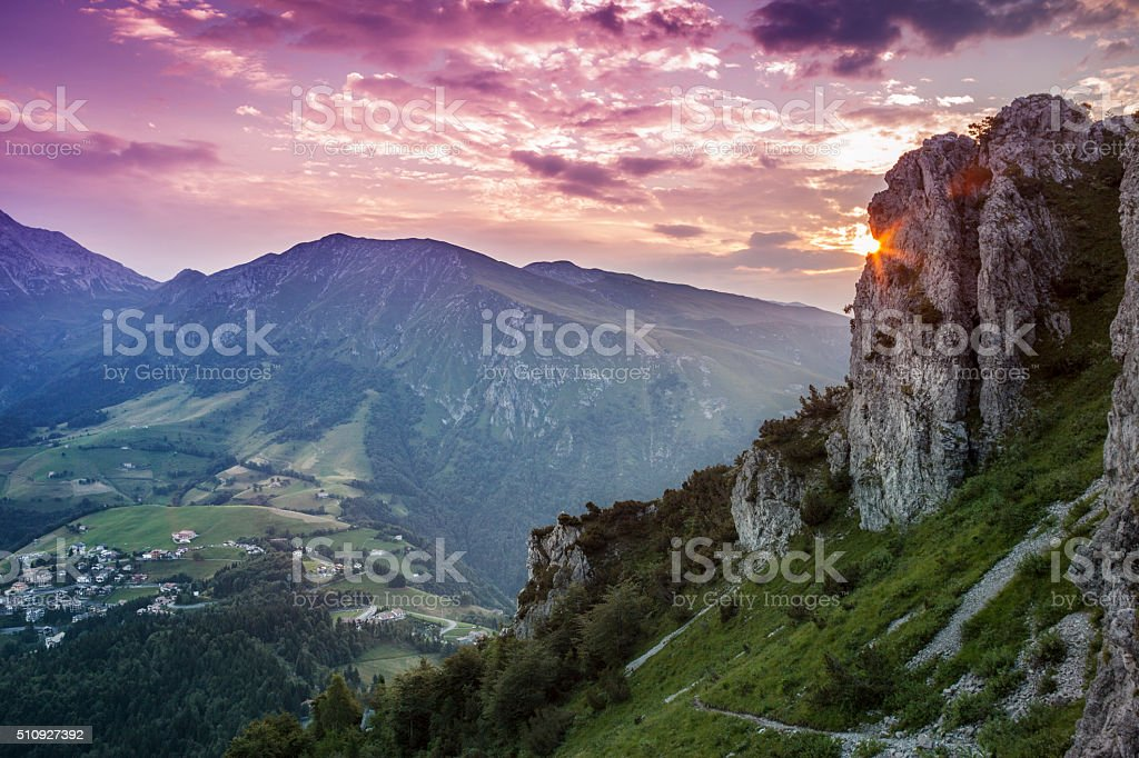 Mountaines Landscape At Sunset, Italy stock photo