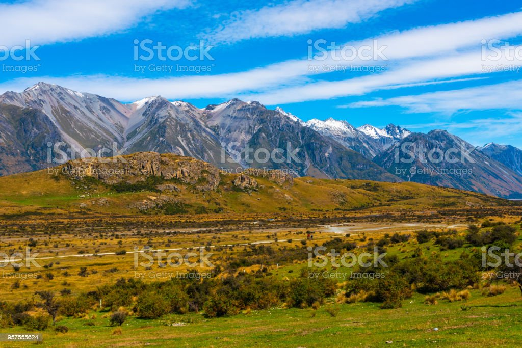 Mountainous Country in New Zealand stock photo